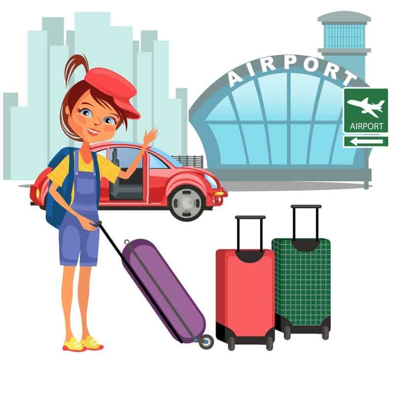 The TravelCenter - Booking 24 hours a day - womanan-her-luggage-came-car-ready-to-flight-auto-transfer-to-airport-building-vector-illustration-girl-womanan-her-118939523